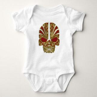 Red and gold sugar skull cranium baby bodysuit