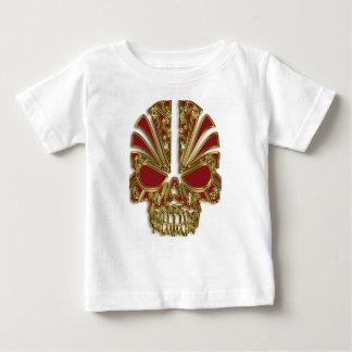 Red and gold sugar skull cranium baby T-Shirt