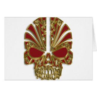 Red and gold sugar skull cranium card