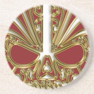 Red and gold sugar skull cranium coaster