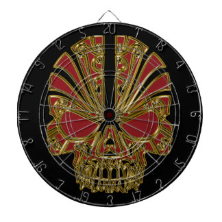Red and gold sugar skull cranium dartboard