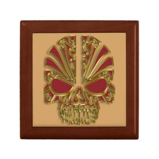 Red and gold sugar skull cranium gift box