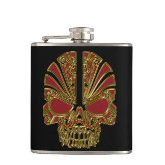 Red and gold sugar skull cranium hip flask