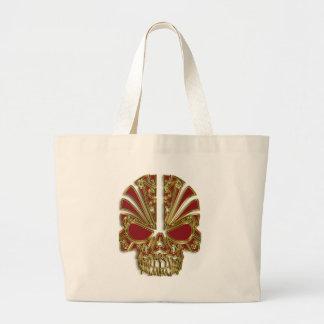 Red and gold sugar skull cranium large tote bag