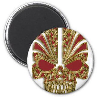 Red and gold sugar skull cranium magnet