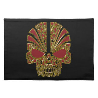 Red and gold sugar skull cranium placemat