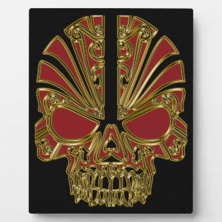 Red and gold sugar skull cranium plaque