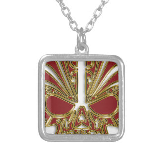 Red and gold sugar skull cranium silver plated necklace