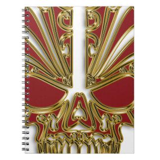 Red and gold sugar skull cranium spiral notebook