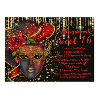 "Red and Gold Sweet Sixteen Masquerade Party 4.5"" X 6.25"" Invitation Card"
