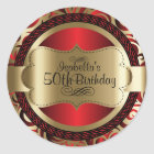 Red and Gold Swirl Abstract Birthday Classic Round Sticker
