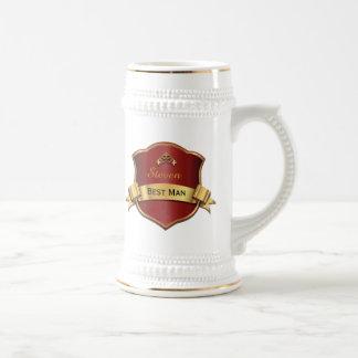 Red and Gold Tone Plaque Best Man Wedding Stein Beer Steins
