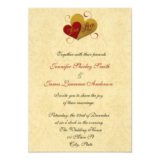 Red and Gold True Love Wedding Invitation