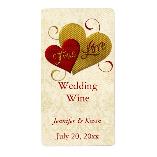Red and Gold True Love Wedding Mini Wine Label Shipping Label