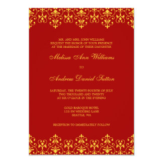 Red and Gold Vintage Baroque Wedding Invitation