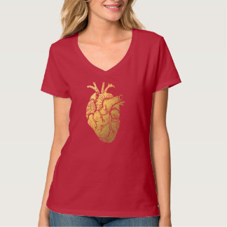 Red and Gold Vintage Heart Women's V-Neck T-Shirt