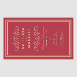Red and Gold Wedding Wine Bottle Monogram Favor Rectangular Sticker