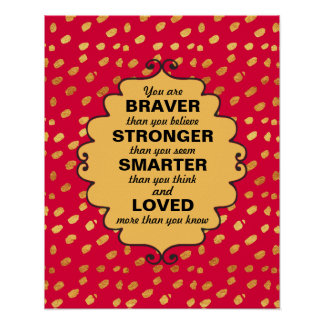 Red and Gold Words of Encouragement Poster