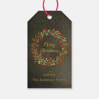 Red And Gold Wreath Christmas Gift Tags