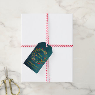 Red And Gold Wreath Christmas Holiday Gift Tags