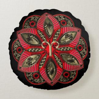 Red and Gold Zodiac Sign Aries Mandala Round Cushion