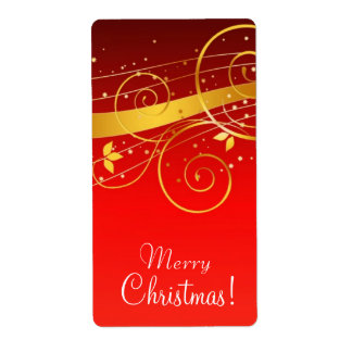 Red and golden Christmas Shipping Label