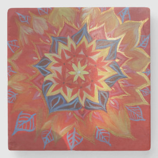 Red and Golden mandala Marble Stone Coaster