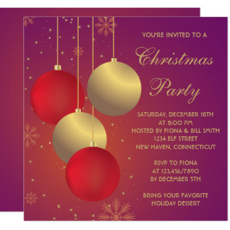 Red and Golden Ornaments Christmas/Holiday Party Card