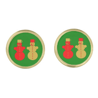 Red and golden snowmen gold finish cuff links