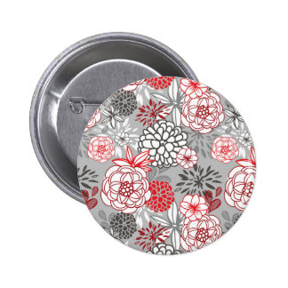 Red and Gray Abstract Flowers Pinback Buttons