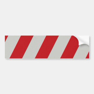 Red and Gray Candy Cane Diagonal Stripes Pattern Bumper Sticker
