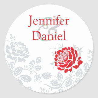 Red and Gray Damask Envelope Seal Classic Round Sticker