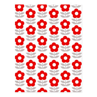 Red and Gray Flower Pattern Postcard