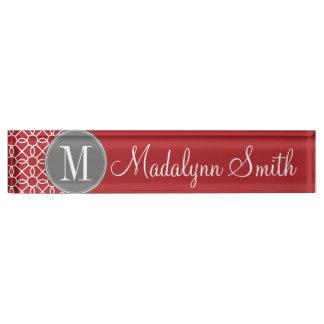Red and Gray Geometric Pattern Monogram Nameplate