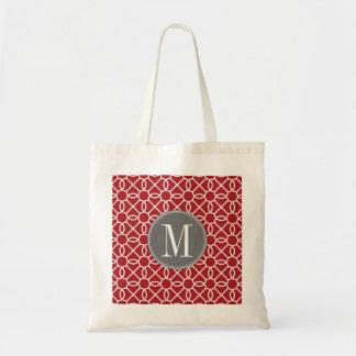 Red and Gray Geometric Pattern Monogram Tote Bag