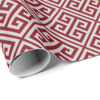 Red And Gray Greek Key Wrapping Paper