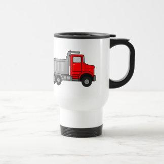 Red and Gray/Grey Cartoon Dump Truck Stainless Steel Travel Mug