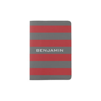 Red and Gray Rugby Stripes with Custom Name Passport Holder