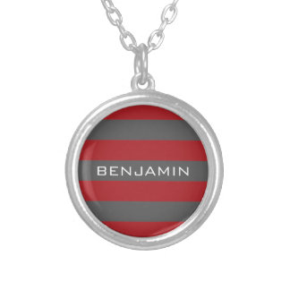 Red and Gray Rugby Stripes with Custom Name Round Pendant Necklace