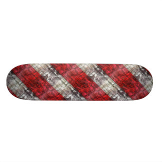 Red And Gray Textured Stripes Custom Skateboard