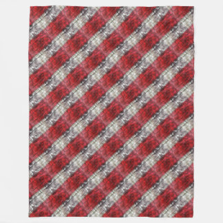 Red And Gray Textured Stripes Fleece Blanket