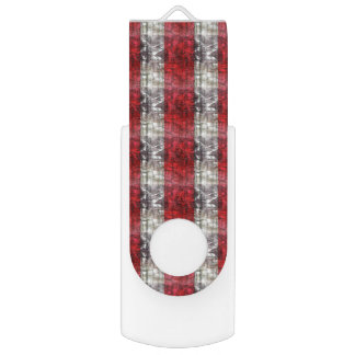 Red And Gray Textured Stripes USB Flash Drive