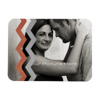 Red and Gray Zig Zag Pattern Rectangular Magnet