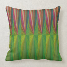 Red and Green Abstract Cotton Throw Pillow