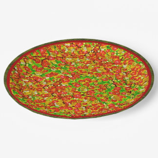 Red and Green Abstract Floral 9 Inch Paper Plate