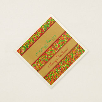 Red and Green Abstract Floral - Personalized Disposable Serviette