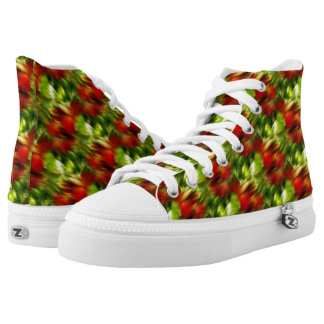 Red And Green Abstract Pattern High Tops