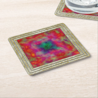 Red And Green Abstract Square Paper Coaster