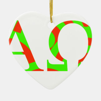 Red and Green Alpha and Omega Design Ceramic Heart Decoration