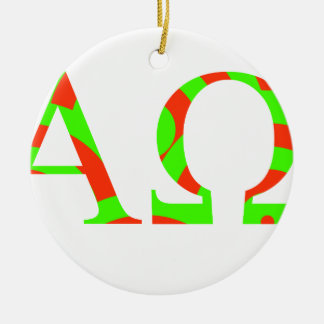 Red and Green Alpha and Omega Design Round Ceramic Decoration